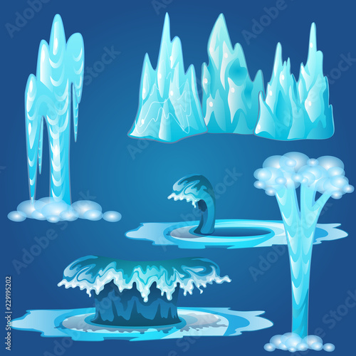 Cuadros en Lienzo Set of frozen streams and splashes of water isolated on blue background