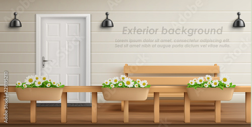 Astounding Vector Exterior Background With Veranda Facade Empty Uwap Interior Chair Design Uwaporg