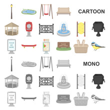 Park, Equipment Cartoon Icons In Set Collection For Design. Walking And Rest Vector Symbol Stock Web Illustration.
