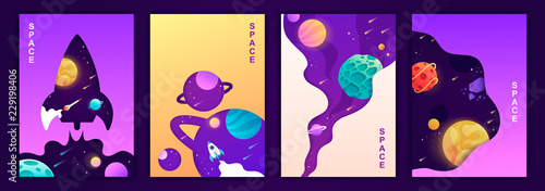 set of vector banners. space trip. universe. colorful templates for covers, flyers, posters.