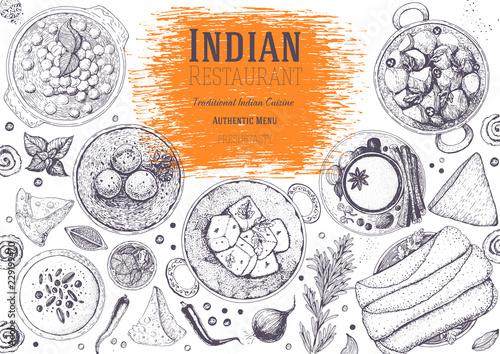Indian cuisine top view frame. Indian food menu design. Vintage hand drawn sketch vector illustration.