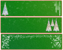 Three Green And Red Christmas Banners