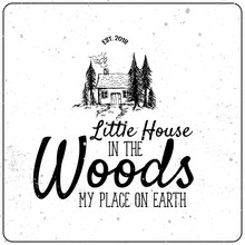 Little House In The Woods Cute Hand Drawn Illustration With Subscription Vector