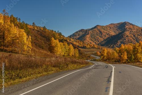 Keuken foto achterwand Turkoois road asphalt mountains autumn trees