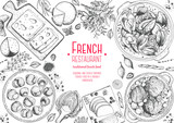 French cuisine top view frame. A set of classic French dishes with beef bourguignon, mussels, escargot, foie gras, cheese, artichoke . Food menu design template. Hand drawn sketch vector illustration. - 229204646