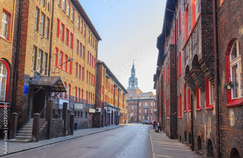 Street in the Historic Mining District of Nikiszowiec in Katowice in Polish Silesia. The street is adjoined by  red-brick houses in which the miner's family lived
