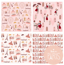Set Of Cute Seamless Pattern With Paris Landmarks, Houses And Lover Couple. Editable Vector Illustration