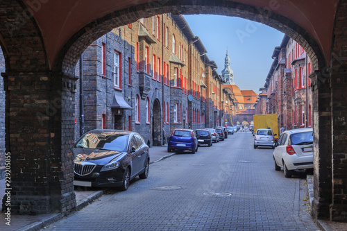 Street Św. Anna in Historic Mining District Nikiszowiec in Katowice in Polish Silesia. The street is adjoined by red-brick houses in which the miner's family lived