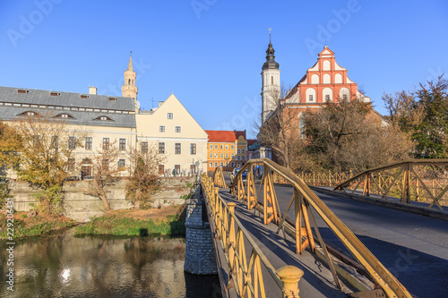 Opole - view of Yellow Bridge and old town behind the bridge