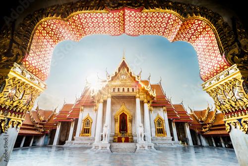 Foto op Canvas Bangkok Unseen thailand, Sunrise at Wat Benchamabophit Dusitvanaram, Ancient royal marble buddha temple, Bangkok, Thailand