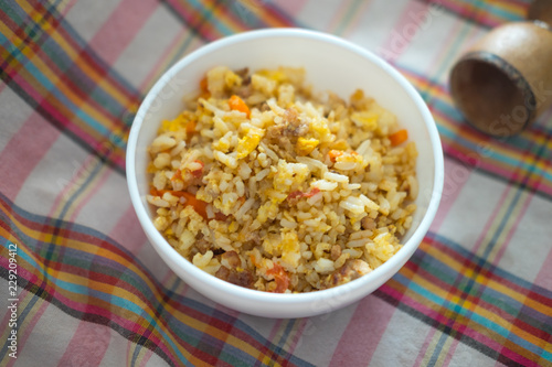 Fried rice with pork and egg homemade food for kid