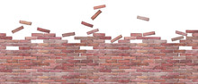 Watercolor Brick Wall Isolated...