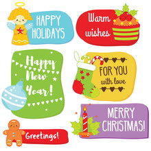 Christmas And New Year Gift And Greeting Tags With Traditional Seasonal Warm Wishes
