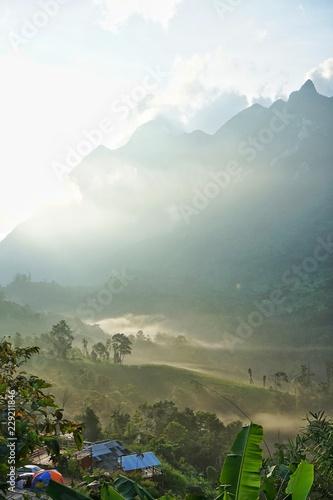Fototapeta Morning Light with Mountain and Fog obraz na płótnie