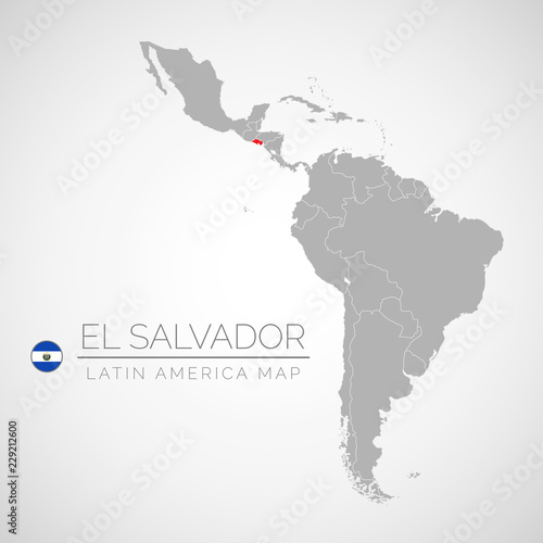 Map Of Latin America With The Identication Of El Salvador Map Of El