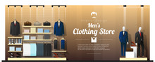 Interior Background Of Luxury Men Clothing Store , Vector , Illustration