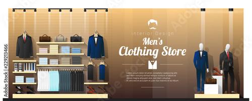 Obraz Interior background of luxury men clothing store , vector , illustration - fototapety do salonu
