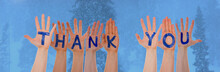 Many Hands Building Word Thank You, Cold Winter Forest