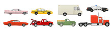 Different Cars Set. Side View Vehicles. Vector Illustration.