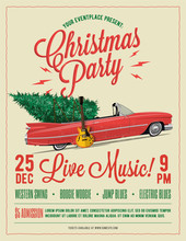 Christmas Party Flyer Or Poster Template. Vintage Styled Vector Illustration.