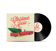 Christmas Music Playlist Cover Art. Vinyl Disc Cover. Realistic Vector Illustration