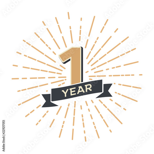First year anniversary retro vector emblem isolated template. Vintage logo 1th with ribbon and fireworks on white background Fotomurales