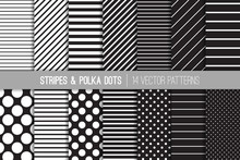 Black And White Diagonal And Horizontal Stripes And Polka Dots Vector Patterns. Set Of Modern Minimal Backgrounds. Variable Size Dots & Lines. Repeating Pattern Tile Swatches Included.