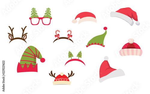 Cuadros en Lienzo Christmas photo booth and scrapbooking vector set
