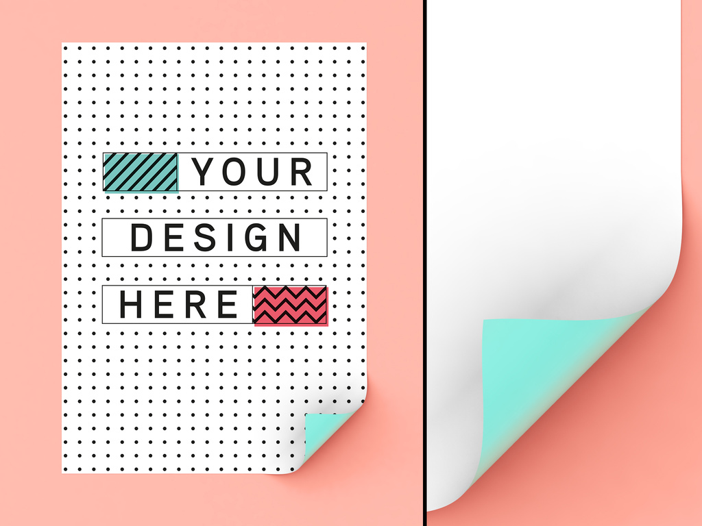 Poster on Wall Mockup PSD