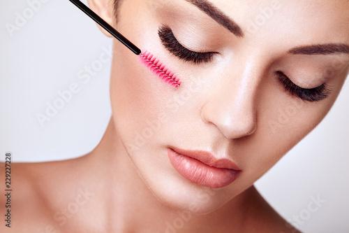 Slika na platnu Beautiful Woman with Extreme Long False Eyelashes