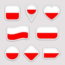 Poland Flag Stickers Set. Poli...