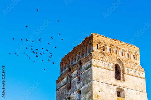 Fotografiet  Tower of the ancient castle against the blue sky with birds_