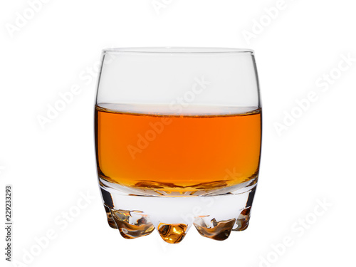 glass of whisky or cognac on a white background