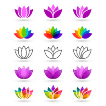 Lotus Flower Set Made In Various Style And Design. Compilation Includes Abstract, Pruple, Colorful, Rainbow And Line Art Icons.