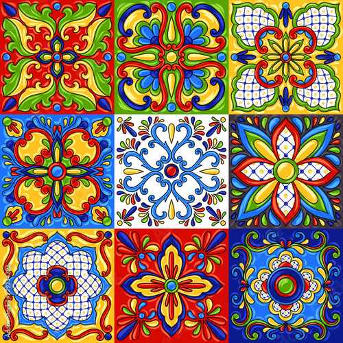 La pose en embrasure Tuiles Marocaines Mexican talavera ceramic tile seamless pattern.