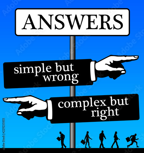 Vászonkép simple but wrong and complex right answers