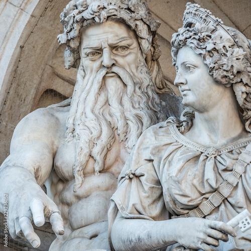 Commemoratif Neptune and his wife Salacia fountain near Albertina and Hofburg Palace in Vienna, Austria, details, closeup