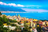 Vietri sul Mare town in Amalfi coast, panoramic view. Salerno Italy