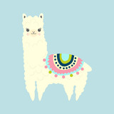 Vector Illustration of cute fluffy cartoon llama or alpaca. Childish print for fabric, t-shirt, poster, cards, invitations, cases, pattern, patch and sticker - 229237865