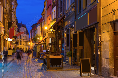 Streets of Torun in evening