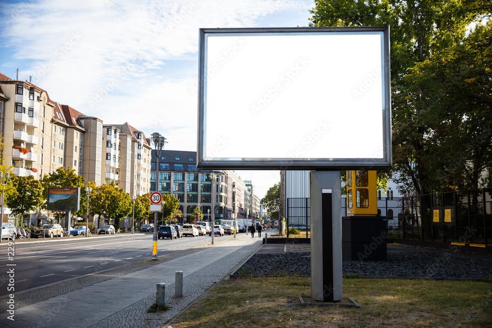 Fototapety, obrazy: Blank billboard mockup for advertising, City street background
