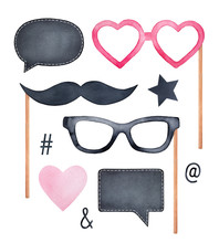 Photo Booth Holiday Collection With Fun Glasses, Mustache, Blank Chalk Boards And Various Party Symbols. Hand Drawn Watercolour Painting, Cutout Clip Art Elements For Design, Decoration, Compositions.