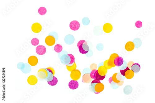 Obraz Multicolored confetti on white background. Festive concept. - fototapety do salonu
