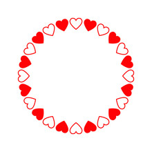 Round Frame Of Hearts, Isolate...