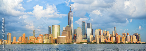 Poster New York City Lower Manhattan skyline panorama over Hudson River, New York