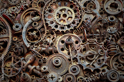 Steampunk texture, backgroung with mechanical parts, gear wheels Wallpaper Mural