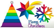 Rainbow Merry Christmas Abstract Symbols