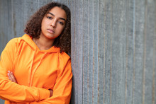 Sad Mixed Race African American Teenager Woman Orange Hoodie