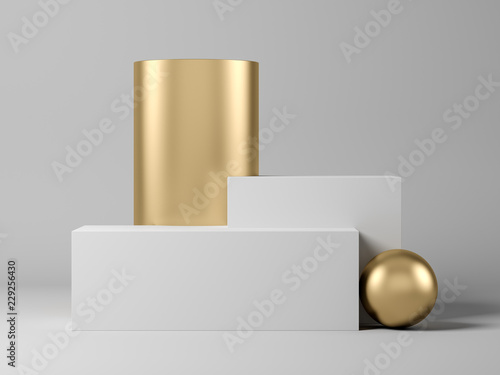 Abstract geometric shape on grey 3d rendering Fototapeta