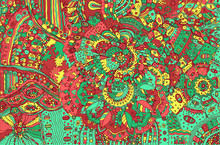Psychedelic Colorful Doodle Background. Hand Drawn Pattern With Floral Fantatic Elements. Vector Illustration